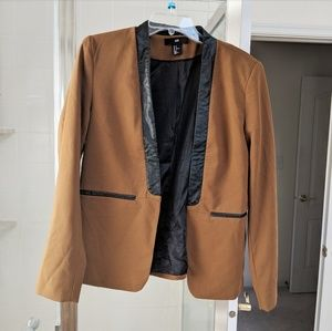Brown and black faux leather blazer